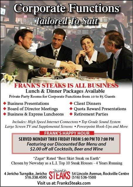 Have Your Corporate Event @ Frank's Steaks
