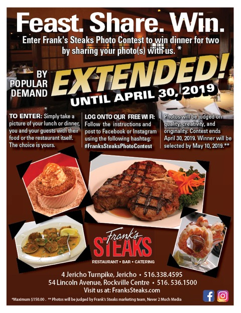Enter our Photo Contest @ Frank's Steaks all of March/April & Win Dinner for Two!