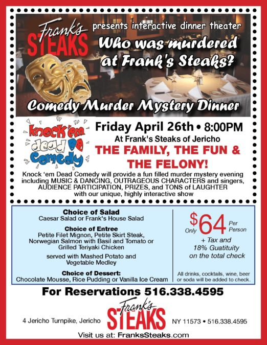 Another Murder Mystery @ Frank's Steaks of Jericho on Apr 26 2019 – 8:00 PM