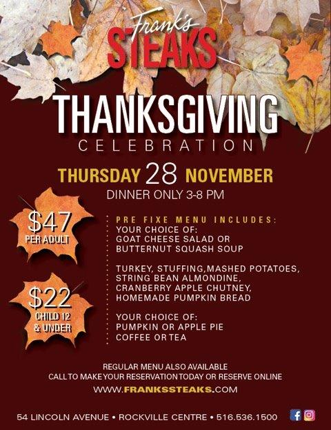 Celebrate Thanksgiving @ Frank's Steaks of RVC!
